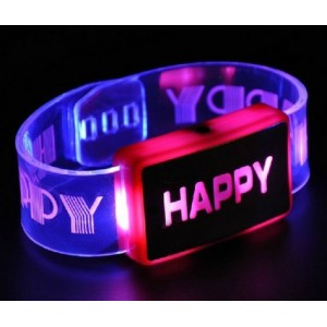 2015 happy love led light up flashing glowing silicone wrist bands bracelets kids toy gift party