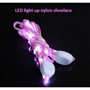 led multicolor light up flashing glowing luminous blinking nylon fabric webbing woven polyester shoe laces wholesale