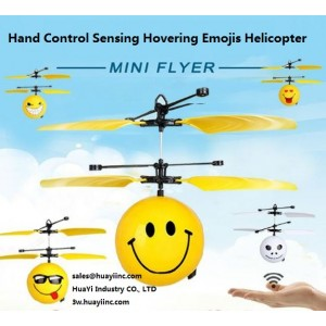 Flying Smiley Face Emojis Helicopter Balls LED Flash Infrared Altitude IR Motion Sensing Kids Toy Hand Palm Induced Hovering