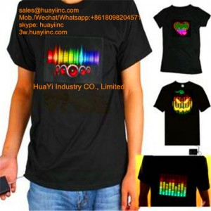 voice controlled LED lighted flashing t shirts