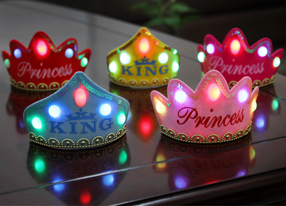 2015 new style led light up flashing tiaras crowns king  princess happy birthday