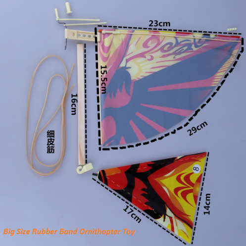 big size ornithopter flying birds rubber band toy