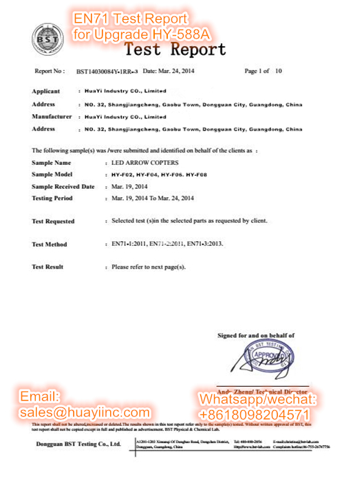 EN71 test report of upgrade HY-588A