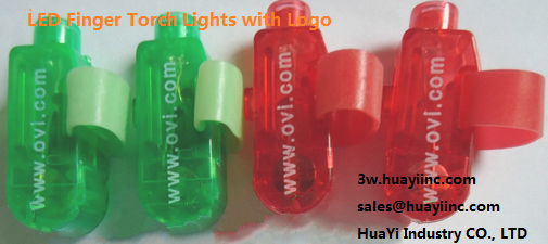 LED finger torch lights with logo imprint