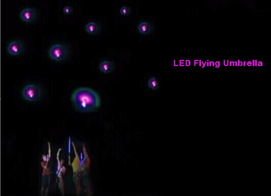 LED flying umbrella launching into sky