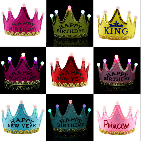 LED light up flashing tiara crown for parties with happy birthday new year princess king printed on