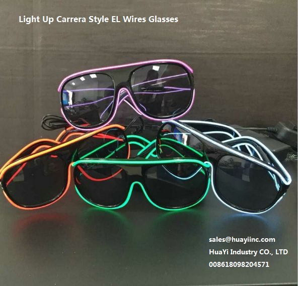 light up flash neon el wires carrera sytle glasses wholesale