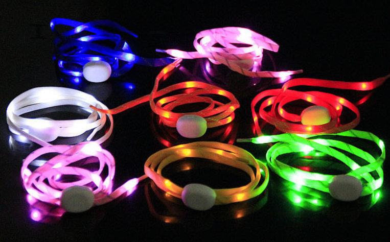 multicolor led lighted  lumiscent nylon shoelaces wholesale