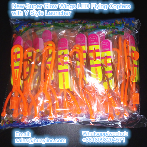 new super glow wings led flying copters toy with y style launcher