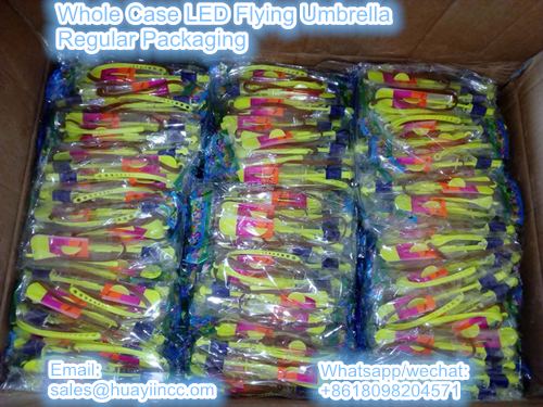 whole case LED flying umbrella toy in regular packaging